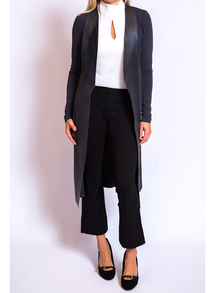 Iris Setlakwe Long jacket w/Leather Front Panel