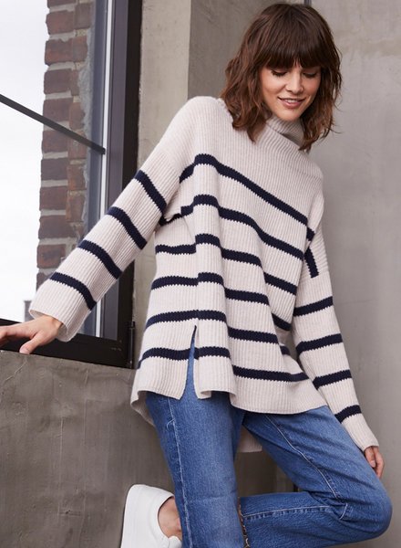 Autumn Cashmere Breton Stripe Funnel Neck Shaker