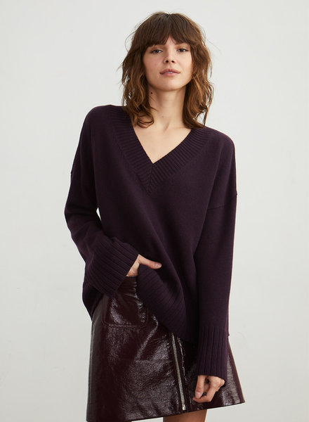 Autumn Cashmere Boxy V w/Wide Sleeves