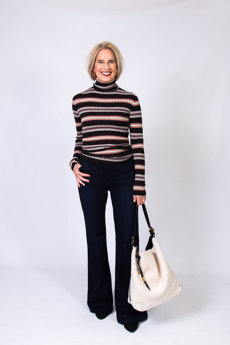 Autumn Cashmere Striped Rib Turtleneck