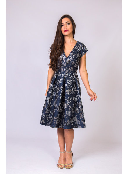 THEIA Metallic Floral Jacquard V- Neck Dress