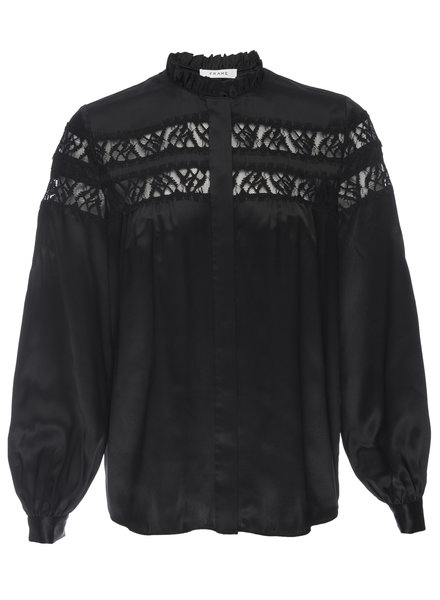 FRAME Paneled Lace L/S Blouse