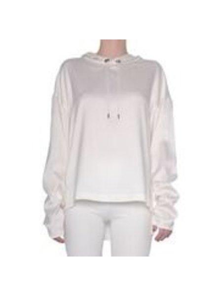 Elaine Kim Skyler Cupro Hoodie Top with Ruched Sleeve