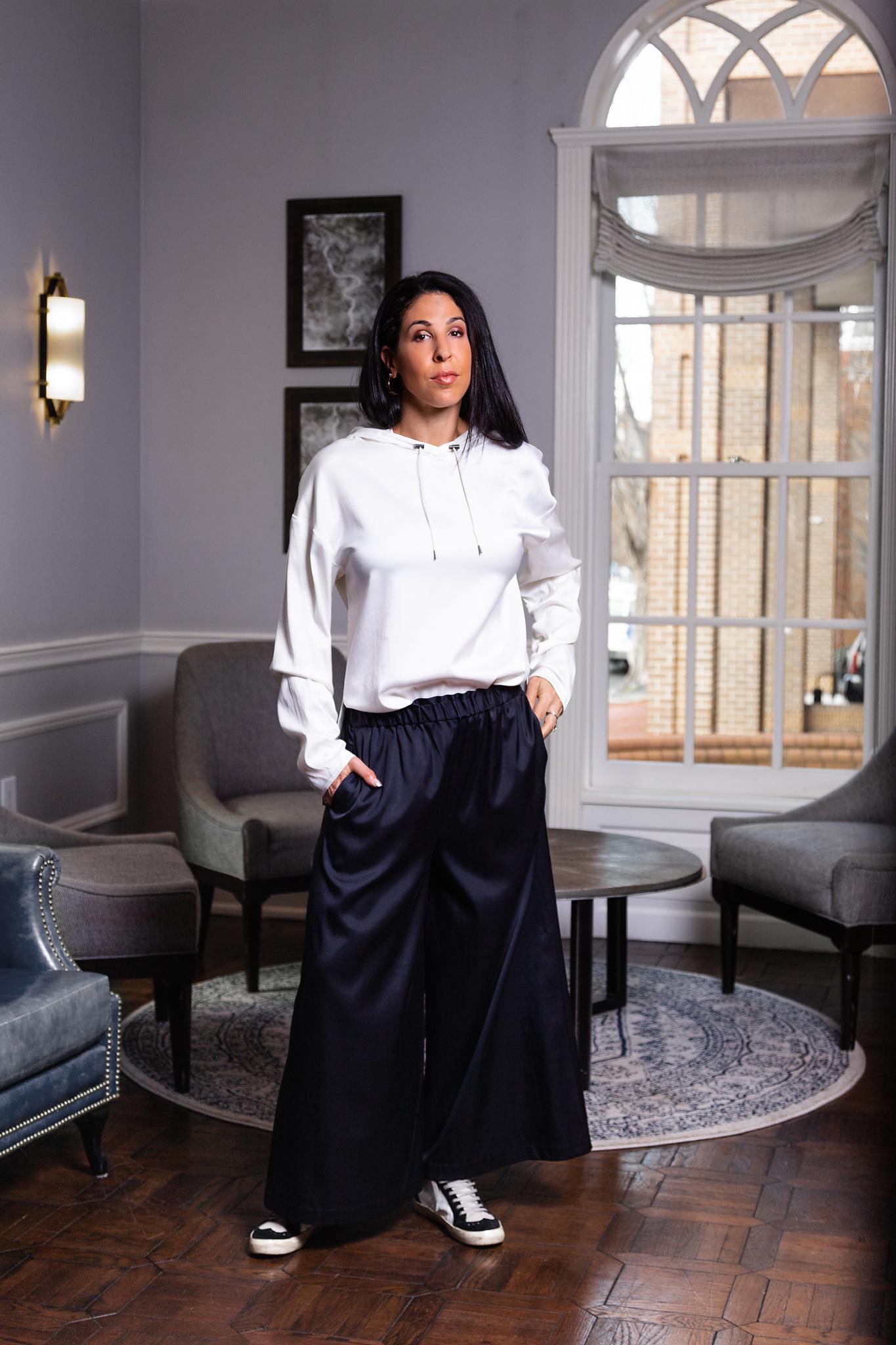 Elaine Kim Sonni Cupro Wide Crop Pant
