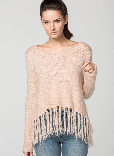 SUNDAYS The Yash Fringe Tulip Back Sweater