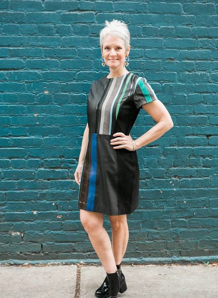 Day Striped Leather Dress
