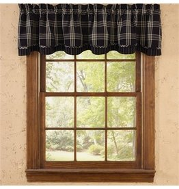 PARK DESIGNS BLACK COFFEE LINED LAYERED VALANCE 72X16