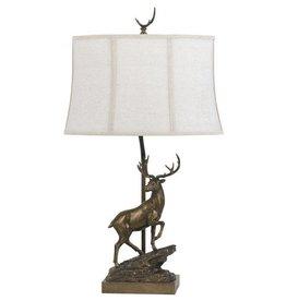 CAL LIGHTING Resin Deer Table Lamp with Softback Fabric Shade