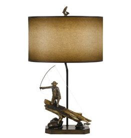 CAL LIGHTING Fly Fisherman Resin Lamp Table with Hand Painted Shade