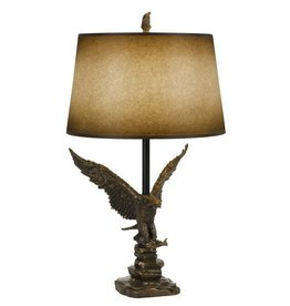 CAL LIGHTING Eagle Resin Table Lamp with Hand Painted Shade
