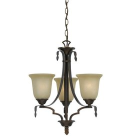 CAL LIGHTING Dabois Hand Forged Iron 3 Light Chandelier with Glass Shades