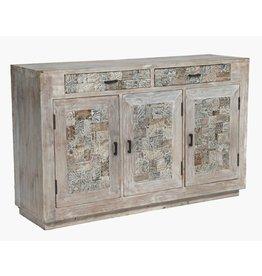 CRESTVIEW Bengal Manor Reclaimed Mango Wood Tiles Sideboard DS