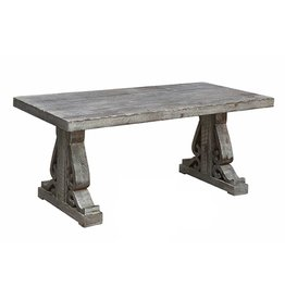 CRESTVIEW Overton Distressed Grey Carved Leg Cocktail Table DS