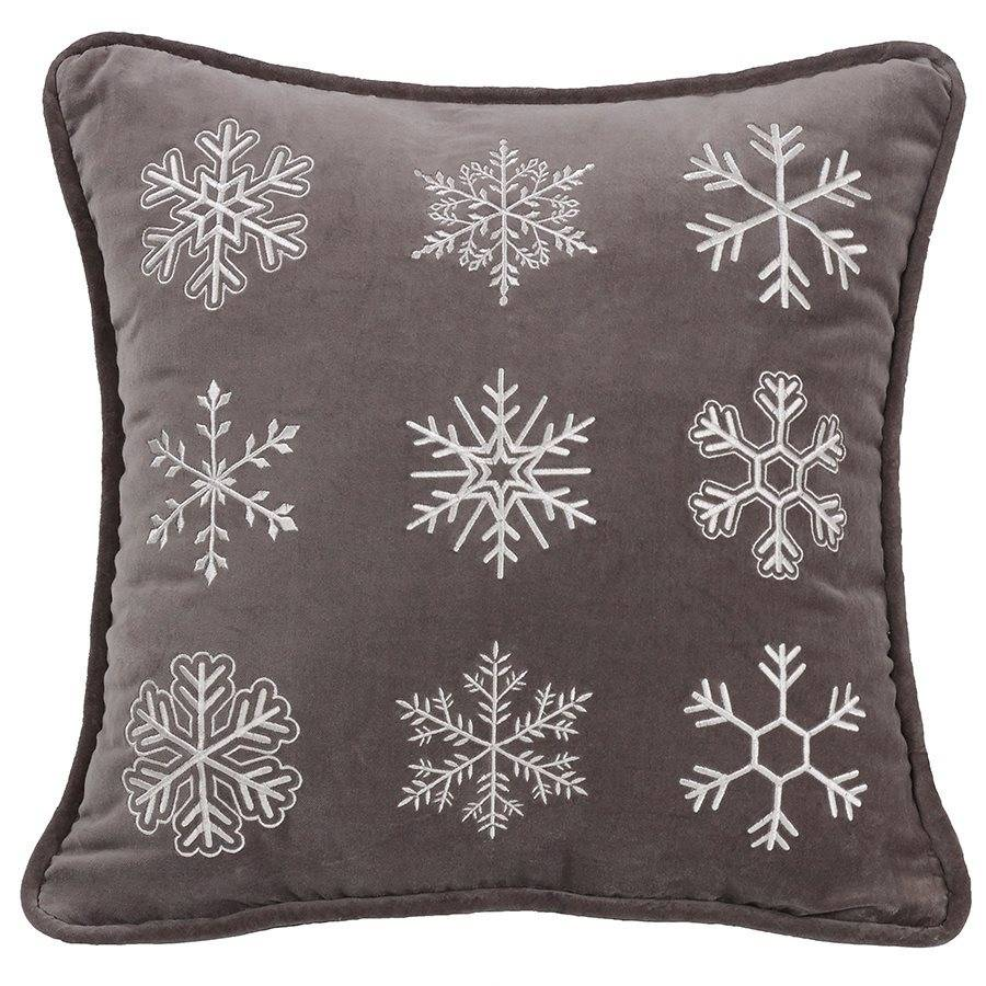 HIEND Square Embroidered Snowflake Pillow