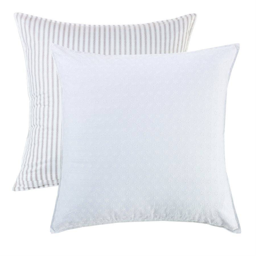 HIEND Reversible Striped and Eyelet Euro Sham