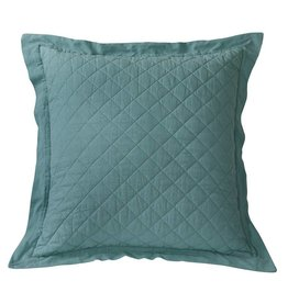 HIEND Diamond Pattern Linen Quilted Euro Sham - Turquoise