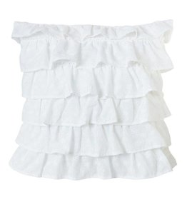 HIEND Tiered Ruffled Eyelet Pillow
