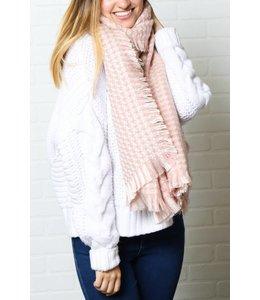 Lovoda Collegiate Oversized Tweed Scarf Pink