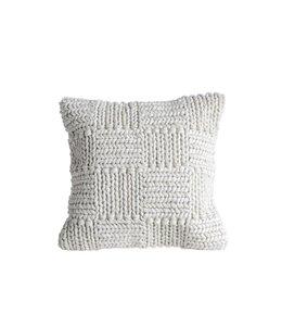 """Creative Co-Op 20"""" Knit Wool Pillow Cream"""