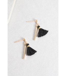Lovoda Koa Tassel Earrings Blackd