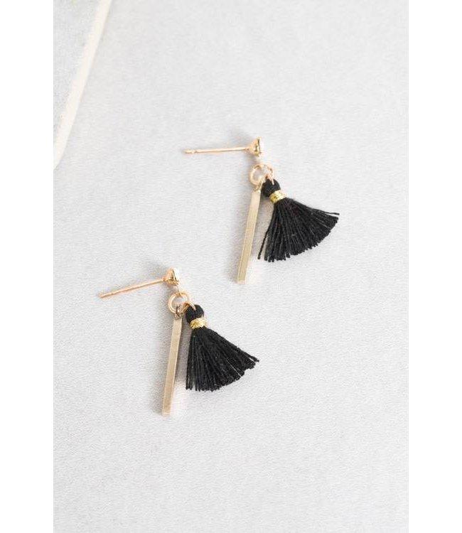 Lovoda Koa Tassel Earrings Black