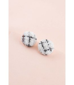 Lovoda Button Up Tweed Earrings