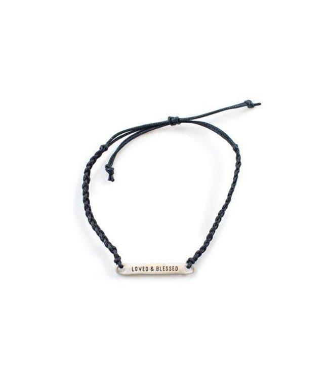 Loved & Blessed Black Braided Bracelet