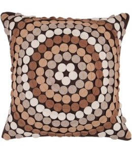 Brown Wool Pillow with Circles