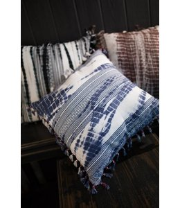 Tie Dyed Embroidered Pillow with Tassels Blue