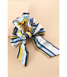 Lovoda All Stripes Scarf Ponytail Blue Yellow