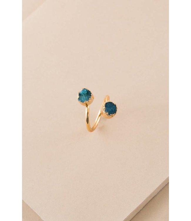 Lovoda Druzy Dot Ring Double Turquoise
