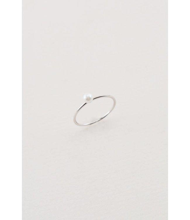 Lovoda Single Pearl Ring Silver 7.5