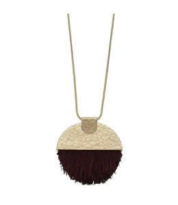 Canvas Jewelry Hammered 1/2 Moon Tassel Necklace Burgungy