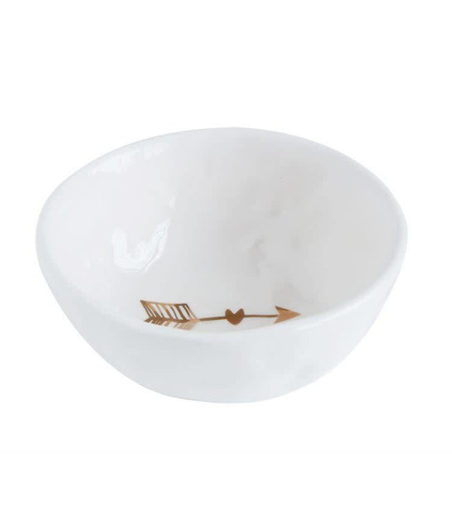 "Creative Co-Op 4"" Round Ceramic Arrow Dish"