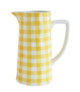 Creative Co-Op Stoneware Pitcher Yellow Gingham