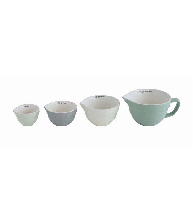 Creative Co-Op Stoneware Batter Bowl Measuring Cups Mint