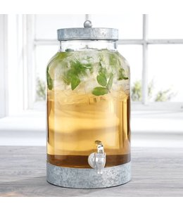 1.5 Gallon Beverage Dispenser with Galvanized Lid