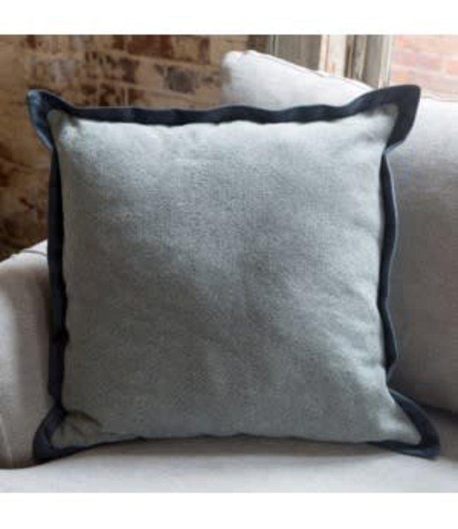 Park Hill Collections Blue Wash Cotton Pillow with Velvet Flange