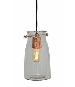 "Creative Co-Op Glass Hanging Lamp 10"""