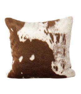 Faux Fur Cow Hide Pillow - Brown