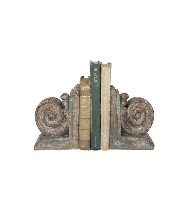 Creative Co-Op Column Bookends Distressed Grey