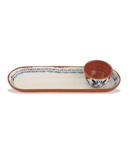 Mud Pie Bungalow Oval Tray & Dip Cup Set