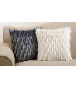 "Faux Fur Pillow 18"" Black"