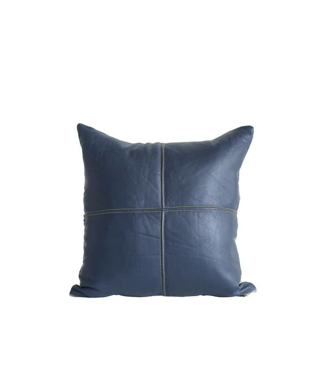 """Creative Co-Op Square Leather Navy Pillow 18"""""""