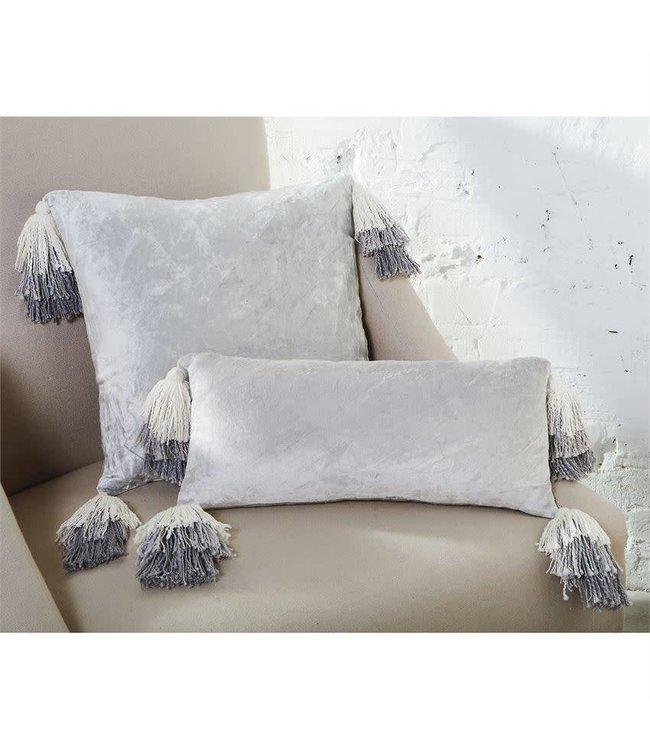 Mud Pie Gray Velvet Tassel Pillow