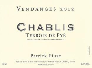 Wine Patrick Piuze Chablis Terroir de Fye 2017