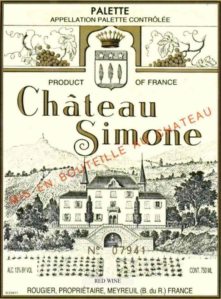 Wine Chateau Simone Palette Rouge 2009