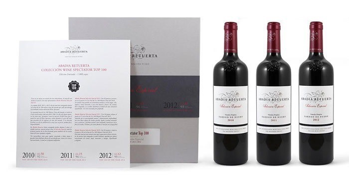 Wine Abadia Retuerta Seleccion Especial Vertical 3 Pack Gift Box — one bottle each vintage 2010, 2011, 2012