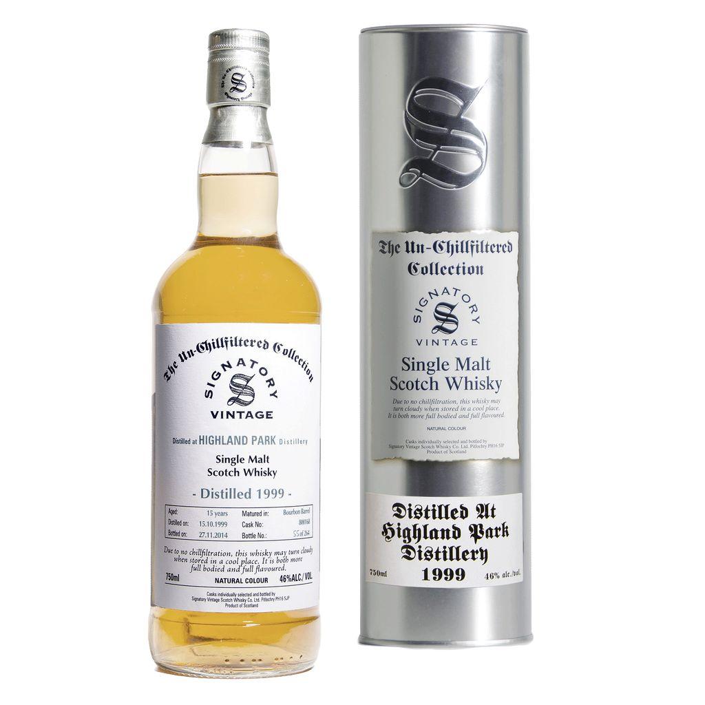 Spirits Unchillfiltered Signatory Highland Park Single Malt Scotch Whisky 1999 Aged 15 Years Bourbon Barrel