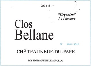 Wine Clos Bellane Chateauneuf du Pape Urgonien 1.14 hectare 2016